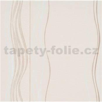 Vliesové tapety na stenu Natalia vlnovky bielo-hnedé na hnedej štruktúre