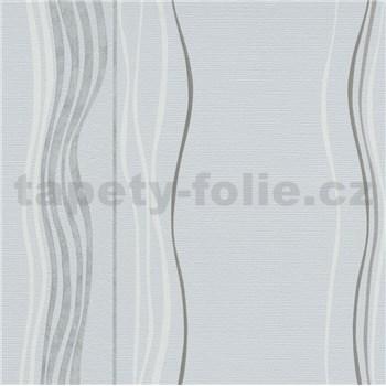 Vliesové tapety na stenu Natalia vlnovky bielo-sivé na sivej štruktúre