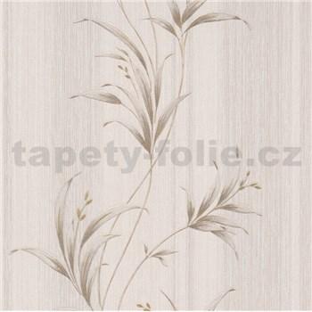 Vliesové tapety na stenu Natalia listy zlaté na hnedom podklade