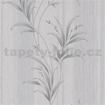 Vliesové tapety na stenu Natalia listy sivé so striebornými odleskami
