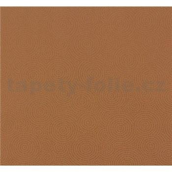 Vliesové tapety NENA kolieska bodkované tehlovo hnedé
