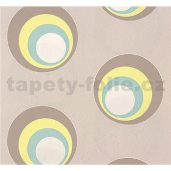 Vliesové tapety NENA moderné bubliny žlto-hnedé