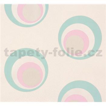 Vliesové tapety NENA moderné bubliny tyrkysovo-ružové
