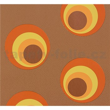 Vliesové tapety NENA moderné bubliny tehlovo oranžové