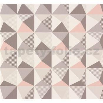 Vliesové tapety NENA kaleidoskop ružovo-sivý