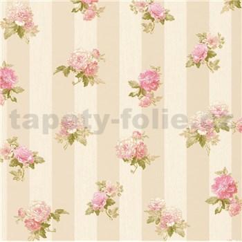 Vliesové tapety IMPOL Romantico ružové kvety na hnedo-krémových pruhoch