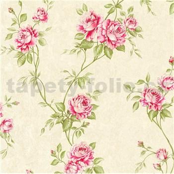 Vliesové tapety IMPOL Romantico popínavé ruže červeno-zelené na krémovom podklade
