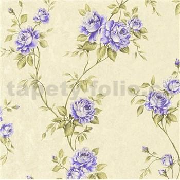 Vliesové tapety IMPOL Romantico popínavé ruže zeleno-fialové na krémovom podklade