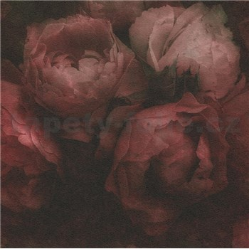Vliesové tapety IMPOL New Wall kvety veľké červeno-čierné