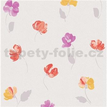 Vliesové tapety na stenu Nizza drobné kvietky fialové, červené, žlté - POSLEDNÉ KUSY