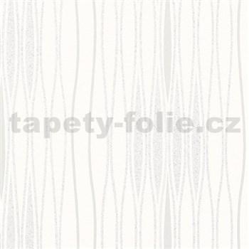 Vliesové tapety na stenu Alizé vlnovky bielo-strieborné