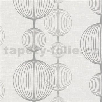 Vliesové tapety na stenu Alizé gule sivo-strieborné na krémovom podklade