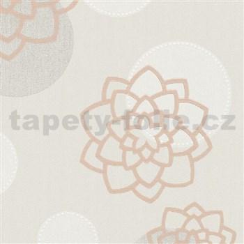 Vliesové tapety na stenu Belinda kvety hnedé na béžovom podklade
