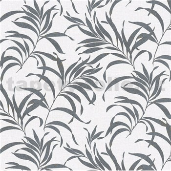 Vliesové tapety na stenu Chelsea listy čierne na bielom podklade