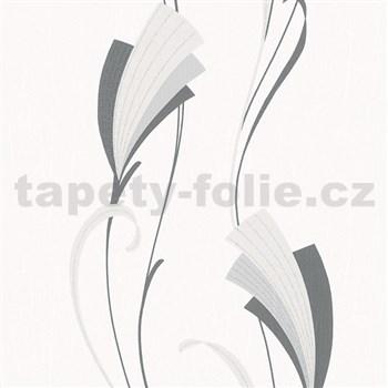 Vliesové tapety na stenu Chelsea moderný kvet čierny s trblietkami
