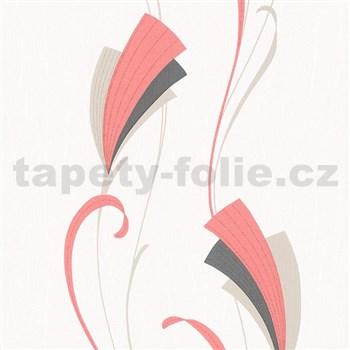 Vliesové tapety na stenu Chelsea moderný kvet červeno-čierný s trblietkami