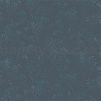 Vliesové tapety na stenu Daphne stonky lesklé zeleno-modré na tmavo modrém podklade