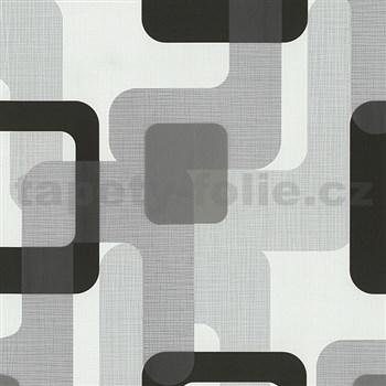 Vliesové tapety na stenu Novara moderné štvorce čierne