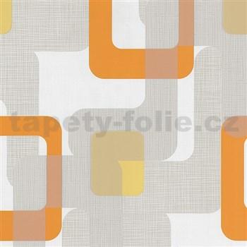 Vliesové tapety na stenu Novara moderné štvorce oranžové - POSLEDNÉ KUSY
