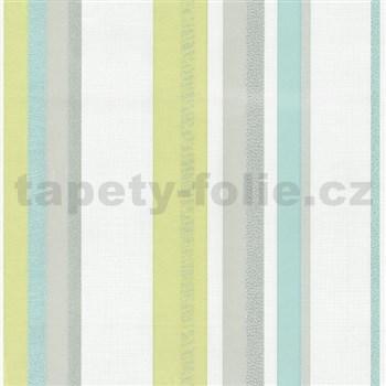 Vliesové tapety na stenu Novara pruhy tyrkysové - POSLEDNÝ KUSY