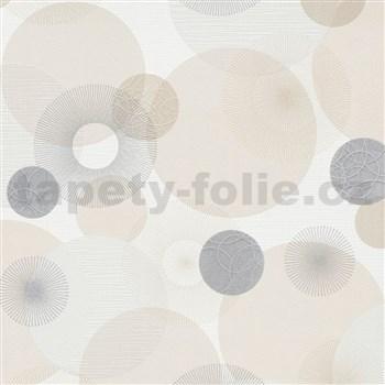 Vliesové tapety na stenu IMPOL Novara 3 lúčovité kruhy béžovo-sivé na bielom podklade