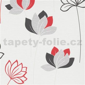 Vliesové tapety na stenu IMPOL Novara 3 kvety červeno-sivé na bielom podklade