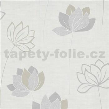 Vliesové tapety na stenu IMPOL Novara 3 kvety sivo-hnedé na bielom podklade