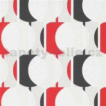 Vliesové tapety na stenu IMPOL Novara 3 korálkový vzor vzor červeno-tmavo sivý s trblietkami
