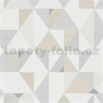 Vliesové tapety na stenu IMPOL Novara 3 geometrický vzor hnedo-béžový