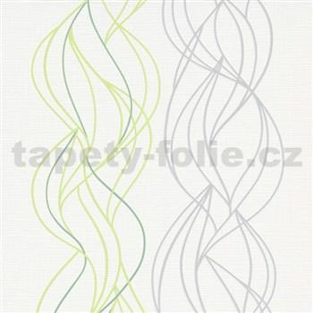 Vliesové tapety na stenu IMPOL Novara 3 vlnovky zeleno-sivé na bielom podklade