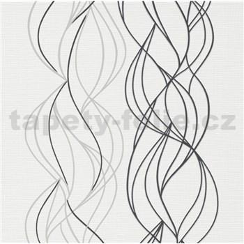 Vliesové tapety na stenu IMPOL Novara 3 vlnovky sivo-čierne na bielom podklade