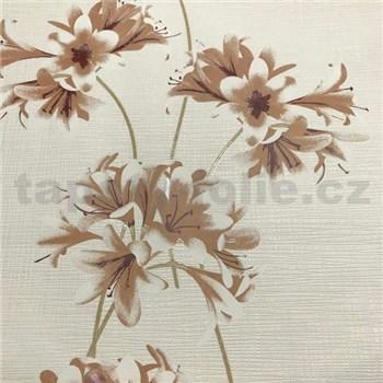 Vliesové tapety na stenu Novara 3  kvety hnedé so zlatými stonkami na bielom podklade