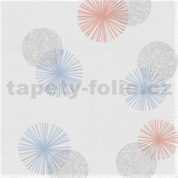 Vliesové tapety na stenu Novara 3 moderné kruhy modré, staroružové a hnedé s lesklými efektmi
