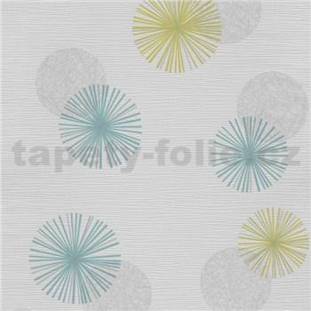 Vliesové tapety na stenu Novara 3 moderné kruhy modré, zelené a sivé s lesklými efektmi