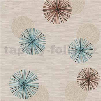 Vliesové tapety na stenu Novara 3 moderné kruhy modré, hnedé a krémové s lesklými efektmi