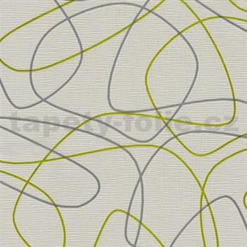 Vliesové tapety na stenu Novara 3 linky zeleno-strieborné na bielom podklade