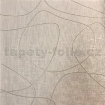 Vliesové tapety na stenu Novara 3 lesklé krémové a strieborné linky na béžovom podklade