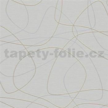 Vliesové tapety na stenu Novara 3 lesklé biele a zlaté linky na svetlo hnedom podklade - POSLEDNÉ KU