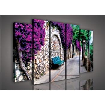 Obraz na plátne lavička v záhrade 150 x 100 cm