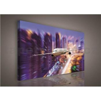 Obraz na stenu lietadlo nad New Yorkom 75 x 100 cm