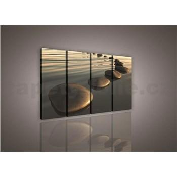 Obraz na plátne piesočná pláž s kameňmi 120 x 80 cm
