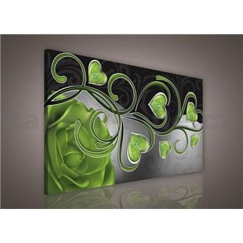 Obraz na stenu srdcia so zelenou ružou 75 x 100 cm