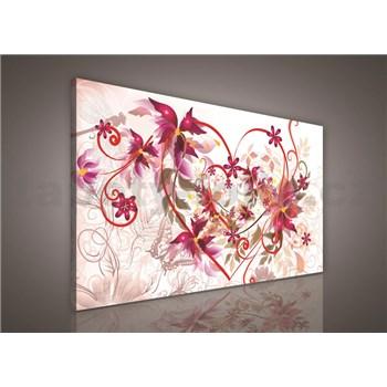 Obraz na stenu srdce s kvetinami 75 x 100 cm