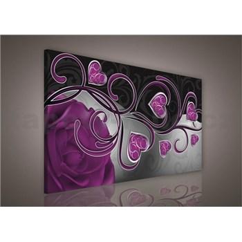 Obraz na plátně srdcia s fialovou ružou 75 x 100 cm