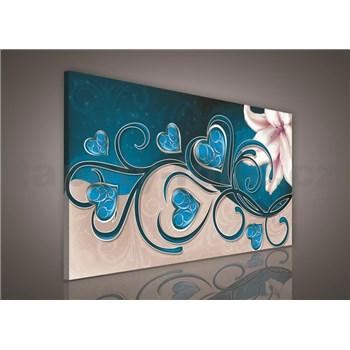 Obraz na stenu srdcia modré s ľaliou 75 x 100 cm