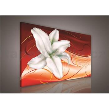 Obraz na stenu ľalie na oranžovom podklade 75 x 100 cm