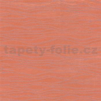 Luxusné vliesové tapety na stenu Opulence vlnovky oranžové