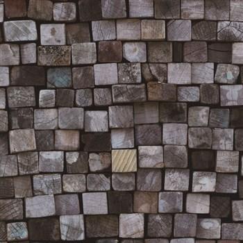 Vliesové tapety na stenu Origin - drevená mozaika modro-hnedá