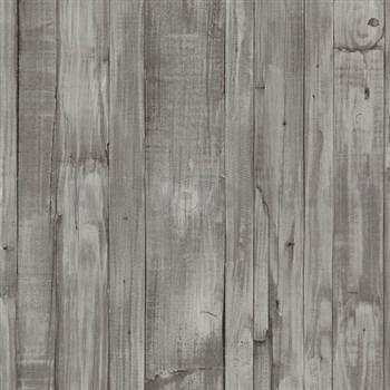 Vliesové tapety na stenu Origin - drevené dosky hnedo-sivé