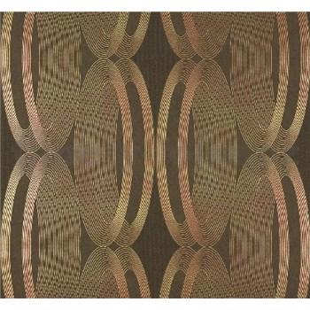 Vliesové tapety na stenu Ornamental Home - elipsy medené na tmavo hnedom podklade